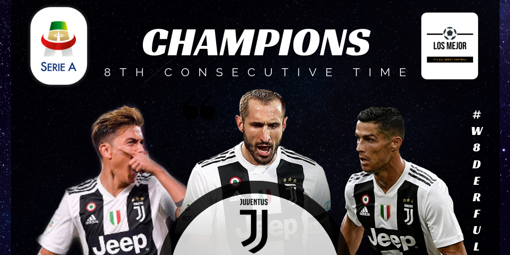 Juventus win their eighth consecutive Serie A title