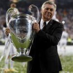 Carlo Ancelotti with the UEFA Champions League tile
