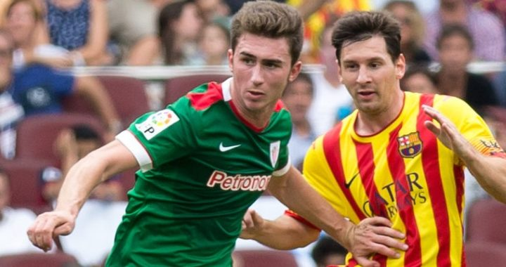 Aymeric Laporte playing for Atheletic Bilbao